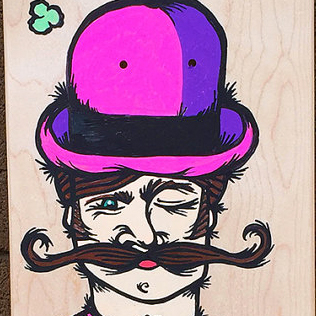 Hipster Pub Dude, paint pen on skateboard
