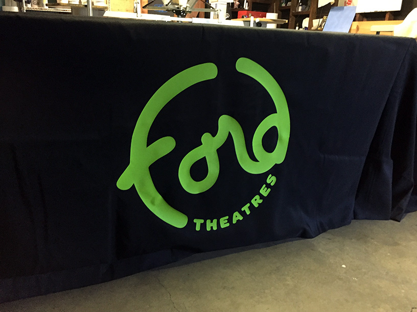 heat press tablecloth logo